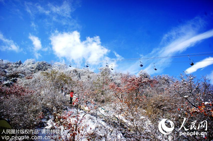 2015年11月25日,北京香山顶峰香炉峰映衬在蓝天之中,格外壮观美丽。(樊甲山/人民图片)