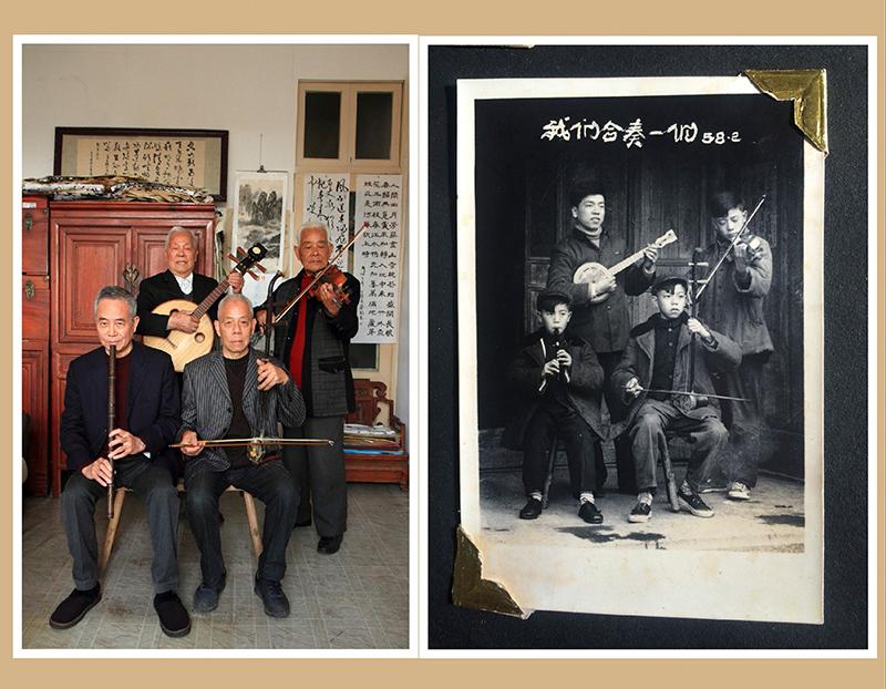 舅舅们在老家拍摄于1958年2月的老照片《我们合奏一们》。七十余年后,笔者在老家温州鳌江复拍了他们的合奏情景照片。作者:方杰