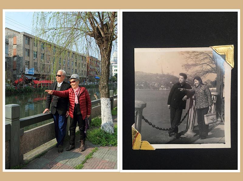 这张照片拍摄于1958年春天的杭州西湖,是我的美娟阿姨和二舅舅孙庆堂送给我的老母亲的纪念照。带着这种深情我复拍了这张情景照片。作者:方杰