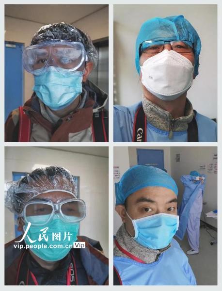 中国摄协赴湖北抗击疫情摄影小分队成员:李舸、刘宇、柴选、陈黎明(从左到右)。